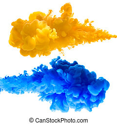 Orange and blue ink splashes in the water, isolated on white...