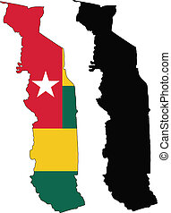 togo - vector map and flag of Togo with white background