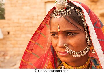 Indian girl portrait - Portrait of an India Rajasthani woman