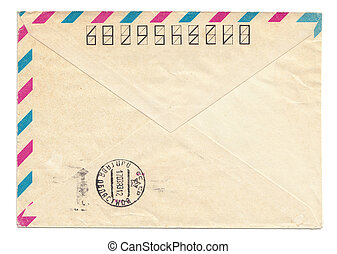 Vintage USSR envelope with meter stamp, closed, isolated on...