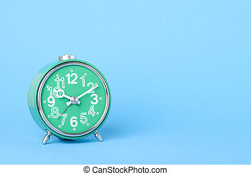 青, 古い, レトロ, 背景, 時計