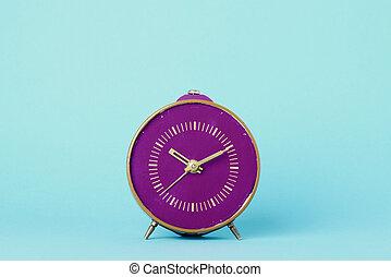 blå, purpur, gammal, bakgrund, klocka