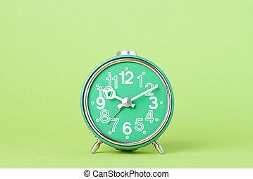 grön, gammal,  retro, bakgrund, klocka