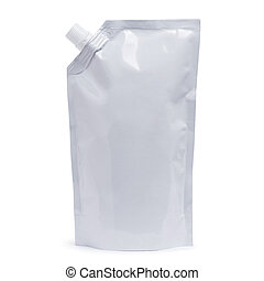 White plastic pouch stand up bag, doy-pack with a corner...