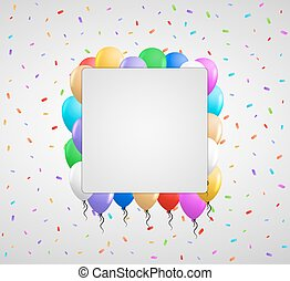 color balloons and confetti