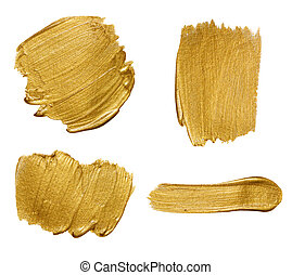 Gold paint strokes isolated on white background