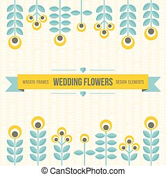 Wedding design elements - flowers and ribbon