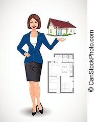 Businesswoman - real estate agent concept