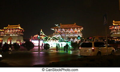 xa17 - night street of chinese city, Xian, China,