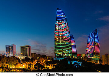Flame Towers are new skyscrapers in Baku, Azerbaijan.