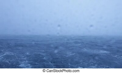 Tropical Rain Storm with Heavy Wind and waves in Ocean,...