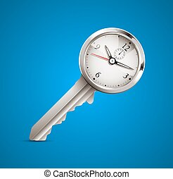 Clock and key as time management concept