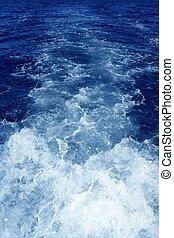 Boat wake foam water propeller blue wash - Boat wake foam...
