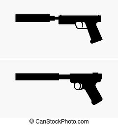 Pistols with silencer - Two pistols with silencer (shade...