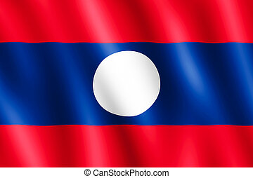 Flag of Laos waving in the wind