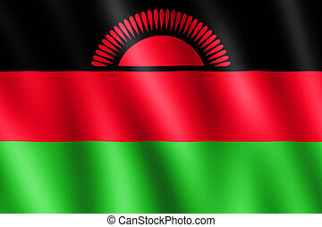 Flag of Malawi waving in the wind giving an undulating...