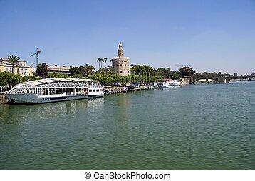 Guadalquivir River, Seville, Spain - Guadalquivir River bank...