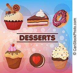 Sweet Desserts Set - in vector