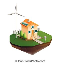 Environmentally friendly house - Vector isolated...