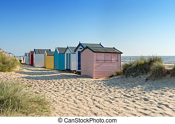 Beach Huts at Southwold - Colourful beach huts at Southwold...