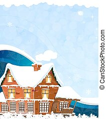 House on a blue background - Brick cottage with snow-covered...