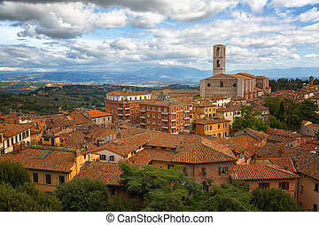Perugia - a view of the old town and the Basilica di San...