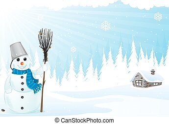 Hut and snowman - Brick hut and snowman with a broom in a...