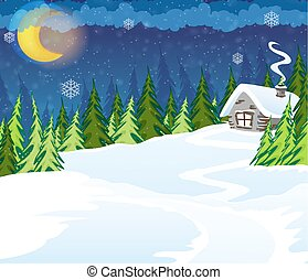 Hut in the forest - House in the winter coniferous forest...