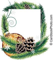 Orange Christmas tree decoration with pine cones - Orange...