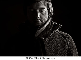 Low Key Shot of a Depressed Male - Powerful Low Key Shot of...