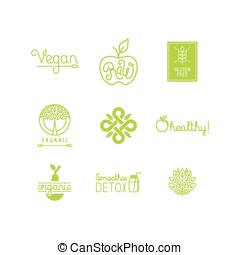 Vector set of green and organic products labels and badges -...