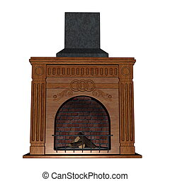 Fireplace - 3D render - Fireplace isolated in white...