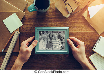 My family is my inspiration Close-up top view of man holding...
