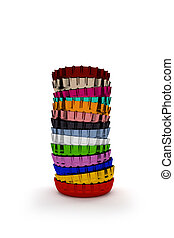 Colorful bottle caps - Pile of colorful bottle caps on a...