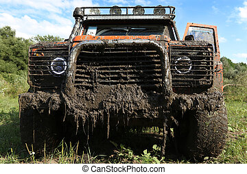 A real off-road vehicle - UKRAINE - JULY 28 - fornt side of...