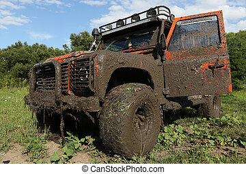 Land Rover Defender after the race - UKRAINE - JULY 28 -...