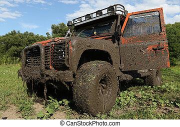 Land Rover Defender after the race - UKRAINE - JULY 28 -...