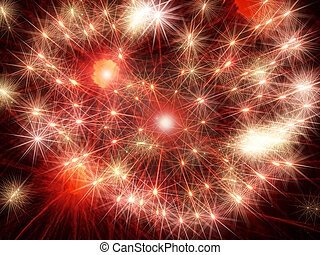 Red shining fireworks stars.Abstract holiday background. -...