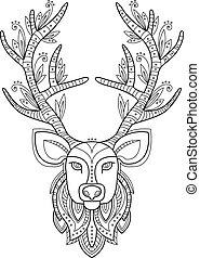 Patterned Deer Head with Big Antlers - Patterned deer head...