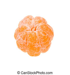Peeled tangerine - Fresh peeled tangerine on white...