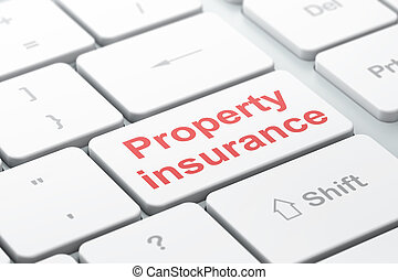 Insurance concept: Property Insurance on computer keyboard...