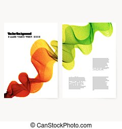 Abstract template color flyer with transparent smoke