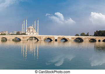 Adana Stone Bridge - Side view of historical old stone...