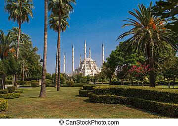 Sabanci Mosque - Exterior front view of Adana Sabanci...