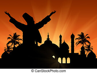 Silhouette Dancing Dervishes - Silhouette of the Turkish...