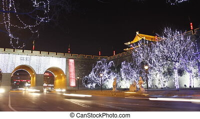 xa7 - time lapse of night street of chinese city, Xi\'an,...