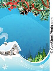 Rural winter landscape - Brick hut with a smoking chimney...