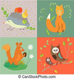 animals-forest  - Forest animals and bird set