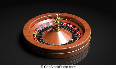 Roulette wheel on black backgroundIsolated
