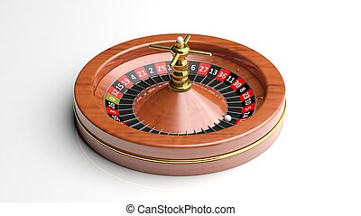 Roulette wheel on white backgroundIsolated